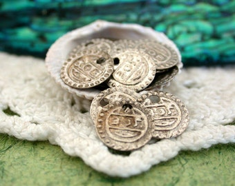 Coin Charms, Antique Silver Coin Stampings, Silver Coins, Belly Dancing Coins MB-014-30