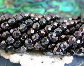 4mm Fire Polished Beads, Czech Fire Polished Beads, Czech Glass Beads, Faceted Glass Beads, Gunmetal Beads, Hemetite Color Beads CZ-054