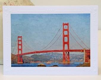 Golden Gate Bridge Photo Greeting Card, Fine Art Photography, Textured Photo Art, California Landmark, San Francisco, All Occasion Card