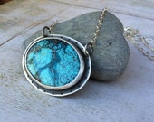 Turquoise Necklace. Stone and Sterling  Necklace. Stonework and Gemstone. Blue Stone Necklace. Turquoise and Silver jewelry.