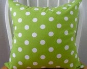 Pillow Cover 18x18in Green and White Polka Dot Pattern