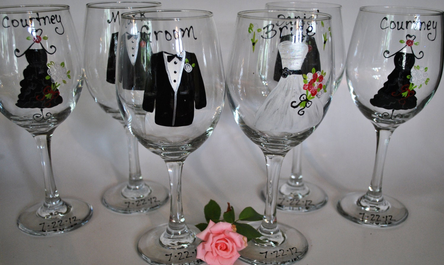 hand painted bridal party wedding wine glasses will you be. Black Bedroom Furniture Sets. Home Design Ideas