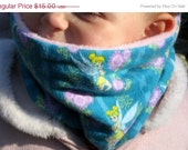 BIG Sale Cowl flannel Girls Gaiter Neck Warmer Scarf tubeTinkerbell flannel lined with soft pink fleece scarf neck tube Warm
