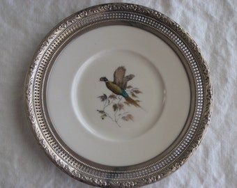 Vintage Sterling Silver Porcelain Frank Whiting Plate Pheasant Bird Signed Rare Antique Collectable