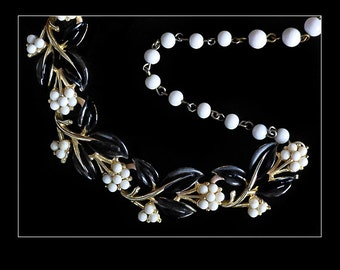 Vintage Coro Black Enamel Leaf and Cream Berries Link Necklace, signed