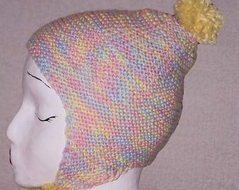 2T - 6T. EAR FLAP Wool Pom Pom Hat . 100% Merino. Special Designed Loop to Keep Ears Warmer.