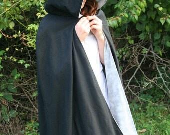 Black/Grey Reversible Hooded Cloak