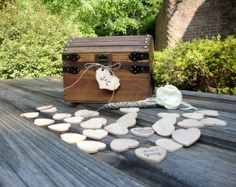 Wedding Guest Book Keepsake Box with Hearts