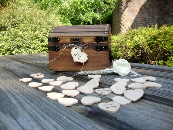 Wedding Guest Book Keepsake Box with Hearts