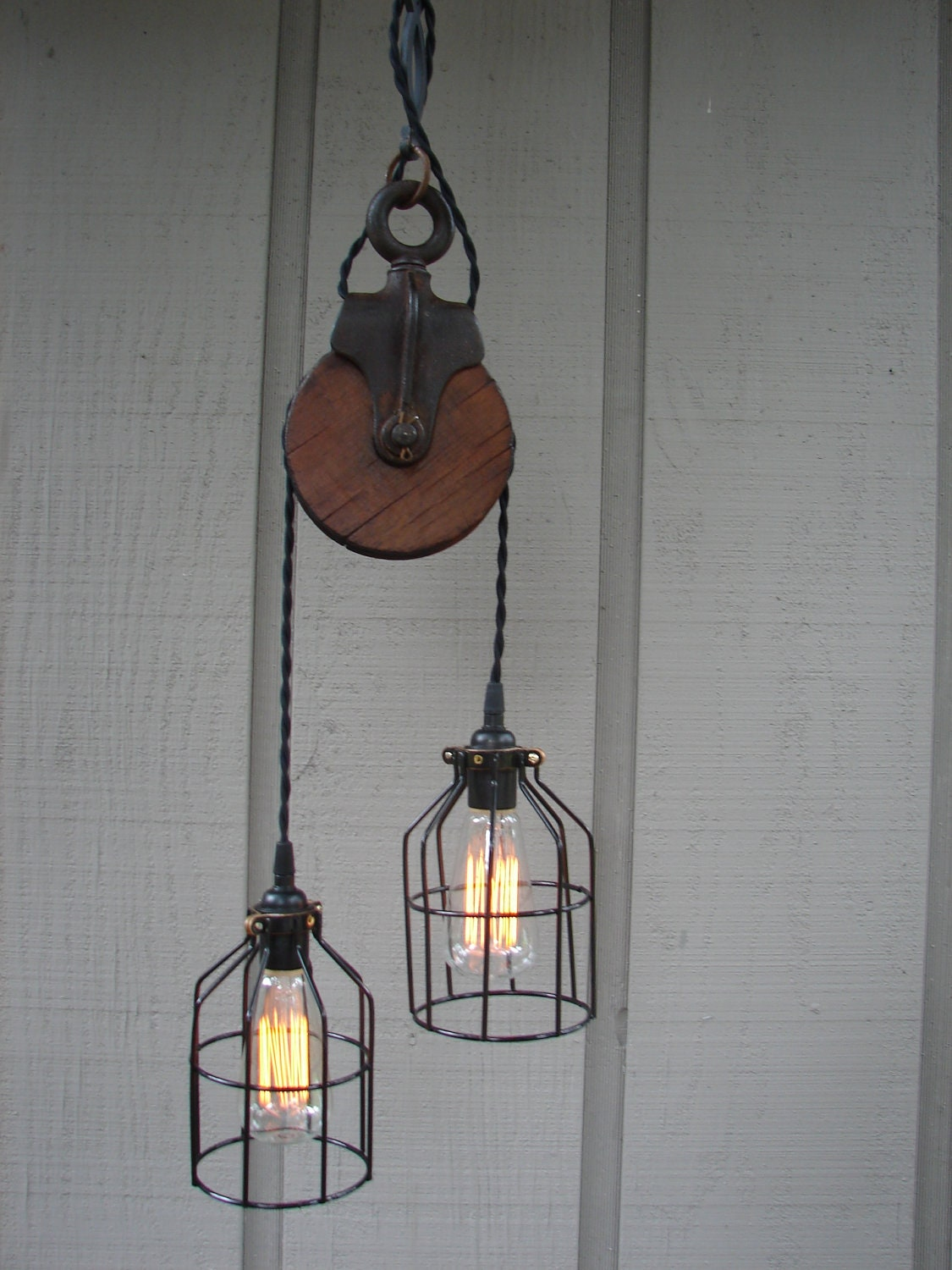 Upcycled Vintage Farm Pulley Lighting Pendant with Bulb Cages
