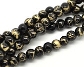 Glass Round Beads - Black Mottled Effect - Loose - 6mm - 1 Strand (Approx. 145pcs) - Ships IMMEDIATELY from California - B321