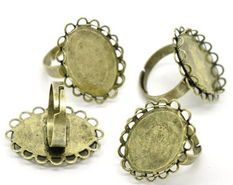 10 Bronze Rings - WHOLESALE - Holds 25x18mm - Adjustable - Antique Bronze - Oval Cabochon Setting - Ships IMMEDIATELY from California - A80a