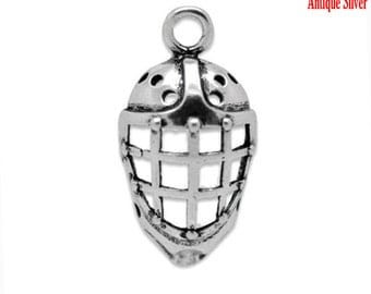 30pcs Silver  Hockey Mask Charm Pendant 26x13mm- Ships Immediately from California - SC278a
