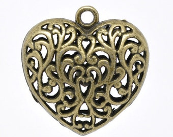Bronze Heart Pendant - Hollow Filigree - Antique Bronze - 36x35mm  - Ships IMMEDIATELY from California - BC383