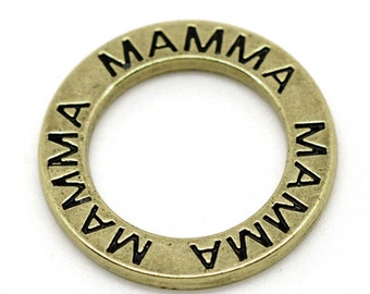 SALE 5 MAMMA Charms - Antique Bronze - Rings - 24mm - Ships IMMEDIATELY  from California - BC412