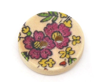 150 Wood Round Buttons - Painted Flower Design - 2 Holes - Sewing Buttons - Scrapbooking - 15mm - Ships IMMEDIATELY from California - W27