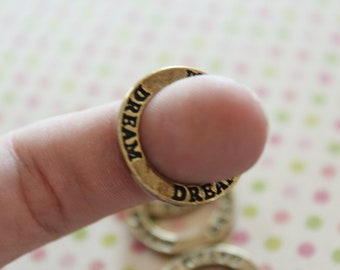 5 Dream Charms - Antique Bronze - Rings - 23mm  - Ships IMMEDIATELY  from California - BC424