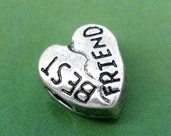 "5 Silver Message Beads - Antique Silver - Heart - ""Best Friends"" - Charm Beads - 12x10mm - Ships IMMEDIATELY from California - B374"