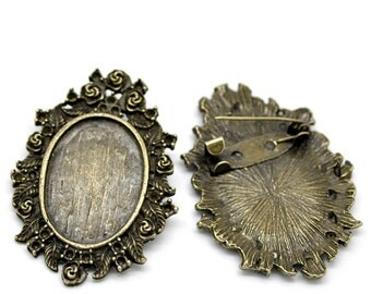 20 Brooch Cabochon Frame Settings - WHOLESALE -  Antique Bronze 44x33mm (Holds 25x18mm) - Ships IMMEDIATELY from California - A121b