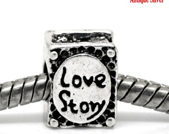 SALE 5 Love Story Beads -  Antique Silver - 10x8mm - Ships IMMEDIATELY  from California - B392