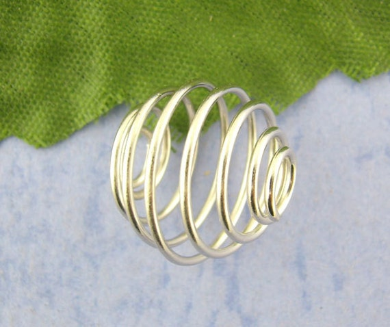10pcs Antique Silver Spiral Bead Cage 14x15mm  - Ships Immediately from California - B197
