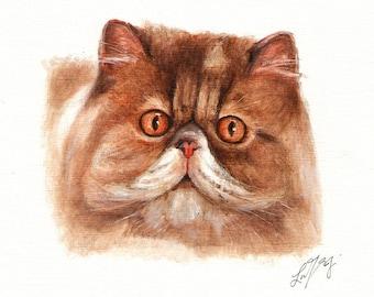 Original Oil CAT Portrait Painting PERSIAN Art On Canvas Kitten Artist Signed