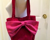 RED VELVET TOTE with Spotted Bow