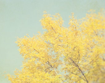 Tree Photography, Yellow Wall Decor, Autumn Photo, Fall Nature Photograph, Gold and Gray Picture