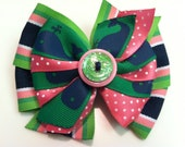 Pink, Navy Blue, Green Whale Print Nantucket Vineyard Stacked Boutique Style Ribbon Bow Handmade for PETS Dog Bow Collar Accessory
