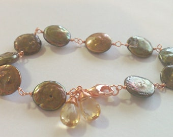 Chocolate City Beer, Wire Wrapped Freshwater Coin Pearl Bracelet