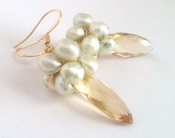 Honey-Mint Lemonade Cooler, Honey Marquis-Cut Citrine and Minty Pearl Cluster Earrings