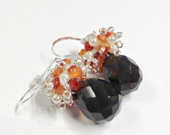 Harvest Cornucopia, Smokey Quartz and Carnelian Cluster Earrings