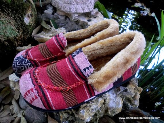 Red Men's Riley Slippers in Naga Woven Cotton, Plush Lined