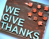 Give Thanks Sign - Thanksgiving Fall Decor - Shabby Chic Sign - Orange Blue - Fall Sign - Fall Leaves