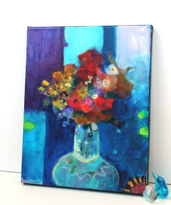 "Reserved for Brigitta Modern Floral Abstract Art on Canvas Original Painting Colorful Acrylic ""Flowers in a Vase"""