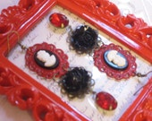 Red Black Cameo Gemstone Earrings