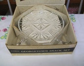 Georgetown Pattern Snack Plate and Cup Set, Original Box, Federal Glass Co.