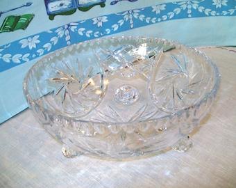 Large, Footed Cut Lead Crystal Bowl, Pinwheel Design