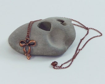 Antique Copper Bow Necklace