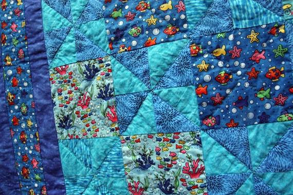 Reserved for Nikki Childrens SeaSide Pinwheel Patchwork Quilt or Playmat