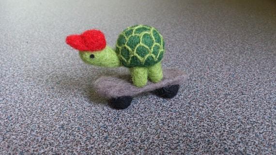 Needle felted miniature turtle on skateboard gift under 25 eco friendly