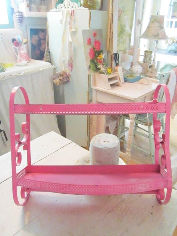 Vintage hot pink  2 tier metal shelf with towel bar shabby chic cottage prairie