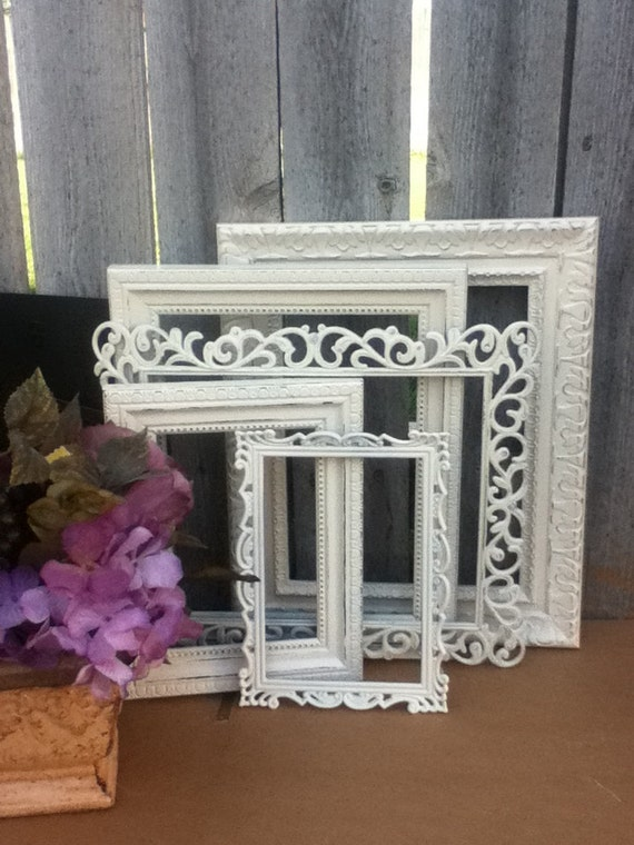 Shabby Chic PICTURE FRAMES - Set of 5 - Heirloom White - shabby chic Wedding - Glass N Easel and Wall Backing