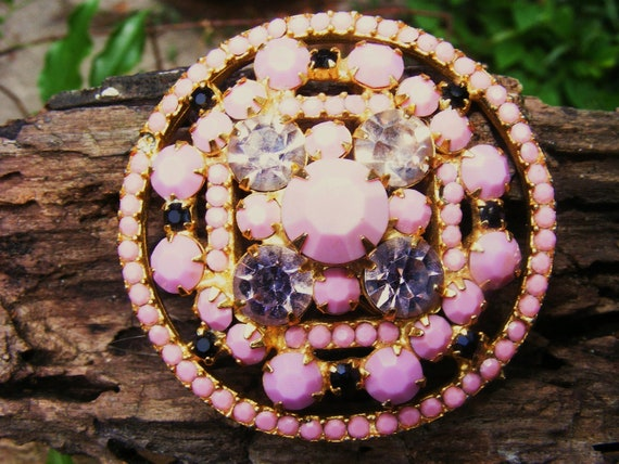 Pink and Black Milk Glass Brooch with Pink Rhinestone Accents