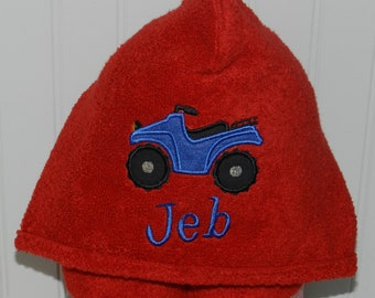 Personalized Four Wheeler Hooded Towel