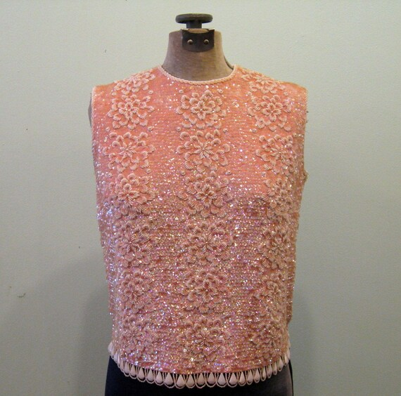 1960s SPARKLING PINK Blouse // Pink Sequin and Bead Top // M