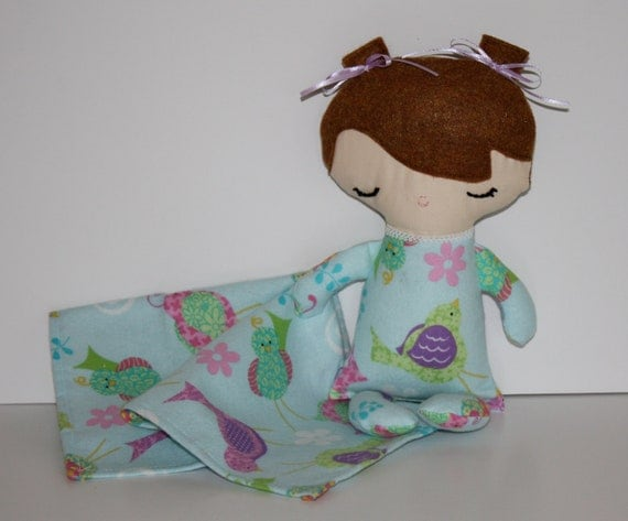 SALE   Baby Doll Brown Hair Birds on Aqua flannel pjs with blanket Baby's First Doll Shower Christmas Stocking