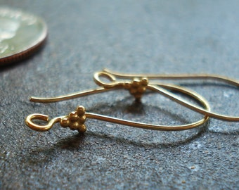 Ear Wires, Vermeil 24 gold Plated Ear Wires, Height is 22 mm,  pkg of 2