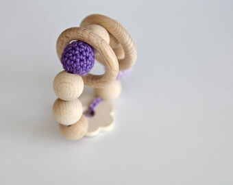 Lilac flower teething toy with crochet wooden beads and 2 wooden rings. Violet and lavender wooden beads rattle.