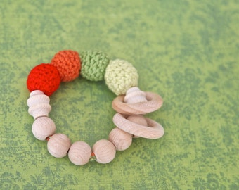 Autumn leafs. Teething ring toy with crochet wooden beads. Rattle for baby.